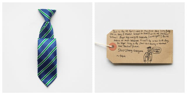 Photographic diptych showing a handwritten brown card label on the right and a stripy tie on the left.
