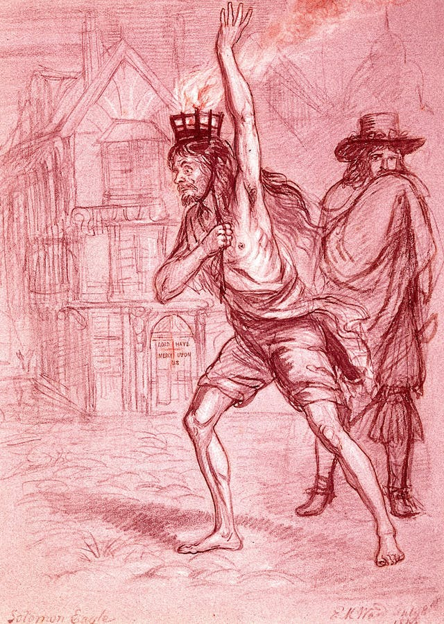 Solomon Eagle carrying coals on his head to fumigate London's air during the 1665 plague, Edward Ward, 1848.