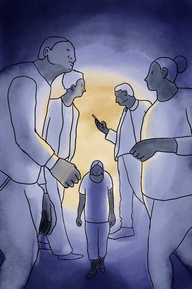Illustration of a woman walking between four other people twice her height, representing how insignificant social anxiety sufferers can feel.