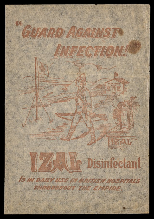 "Photograph of a toilet paper sample sheet, bearing the title""Guard Against Infection"" and an illustration of a British soldier."