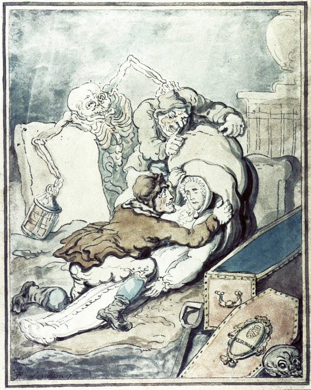 Coloured drawing of grave robbers trying to steal a corpse while a skeleton approaches them from behind