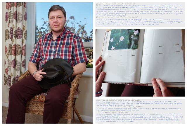 Photograph of an individual sat on a chair in a room, in front of a window. They are looking straight to camera, holding a hat in their hands. Behind them are curtains with a leave motif. To the right of this photograph is another photograph showing a hand holding a family photo. Above and below this image are images of handwritten texts.