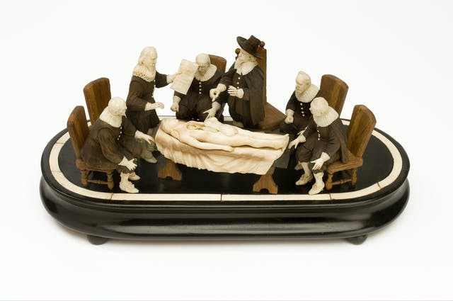 This image shows a wood and ivory model loosely based on the 1632 painting