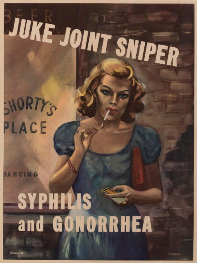 A prostitute lighting a cigarette outside a bar; warning American servicemen against sexually transmitted diseases