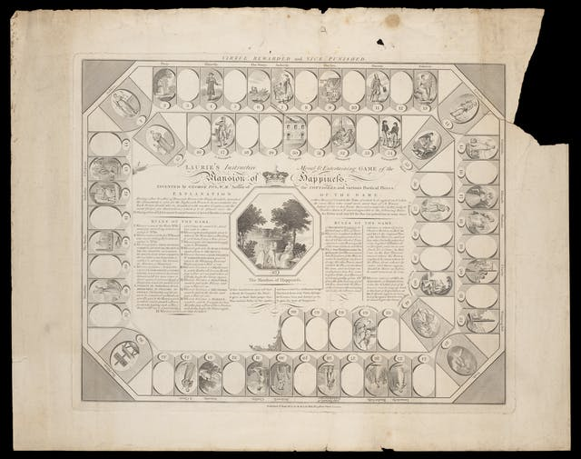 Photograph of an engraving from 1851 which illustrates the layout for a board game, with the rules of the game written in the centre, surrounded by a ring of numbered tiles.