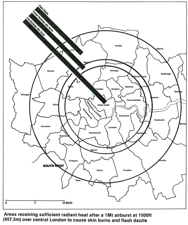 A map showing the consequences of a nuclear blast over central London