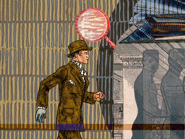 An abstract digital illustration depicting a young Victorian man walking into the entrance of a library and being transformed. In the background is an archive image of a place of learning, decorated with magnifying glasses as ornaments and open book.