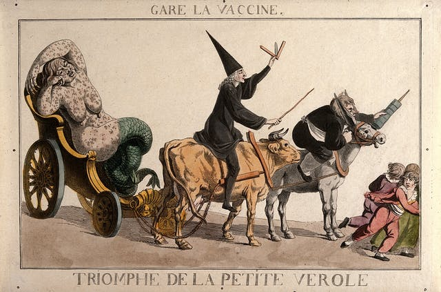 A diseased woman turning into a mermaid, a physician riding a cow   and an apothecary wielding a syringe form a grotesque procession that scares children.