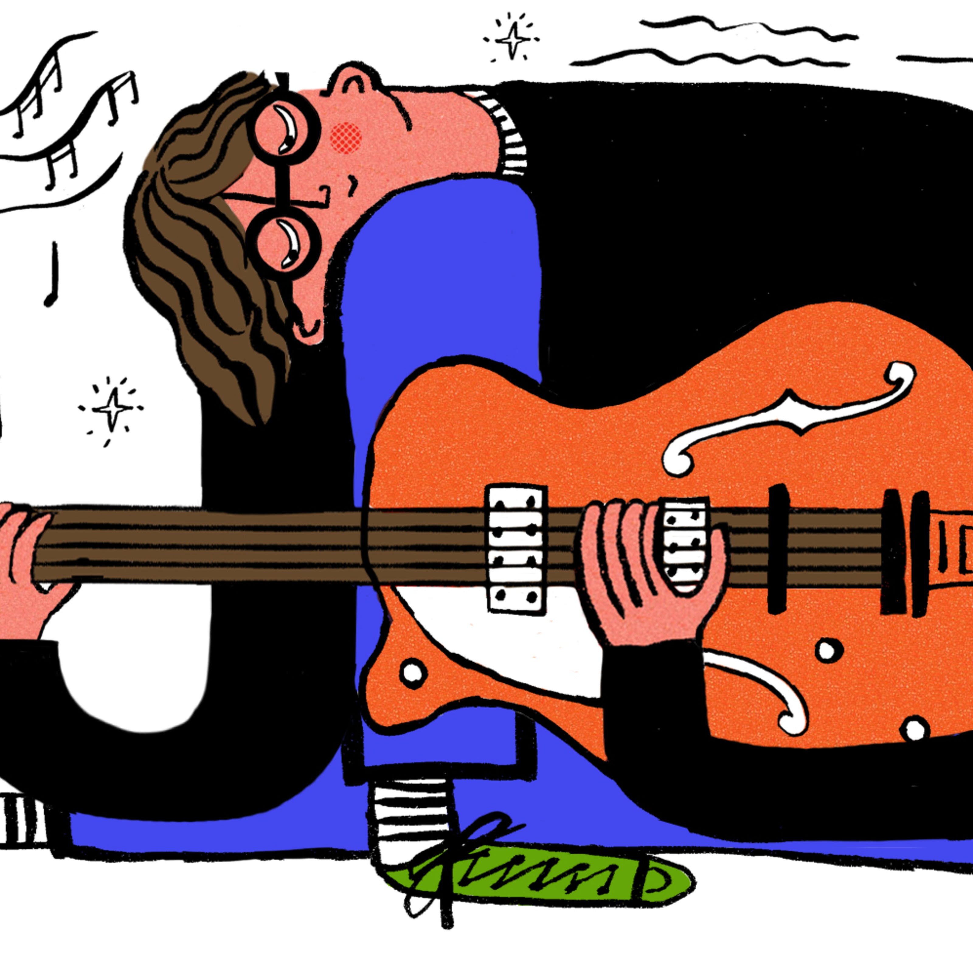 Illustration of man playing a guitar.
