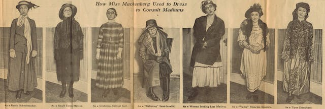 Newspaper clipping featuring seven images side-by-side of a woman in different types of dress. The descriptions are: Rustic schoolteacher, Small Town Matron, credulous servant girl,