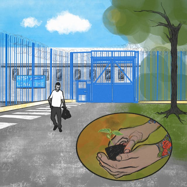 A digital illustration of a figure walking away from a prison gate on the left of frame, towards the green lawns and trees on the right of frame. In the bottom right there is an illustration of hands holding a small seedling ready to be planted, the person has tattooed arms showing blossoming flowers.