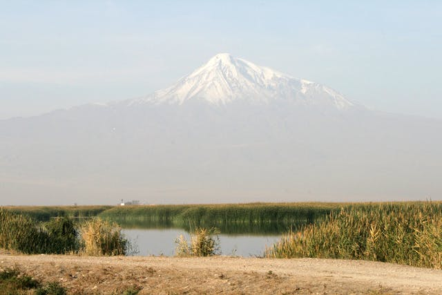 Photograph of snow-capped Mount Ararat in Armenia.
