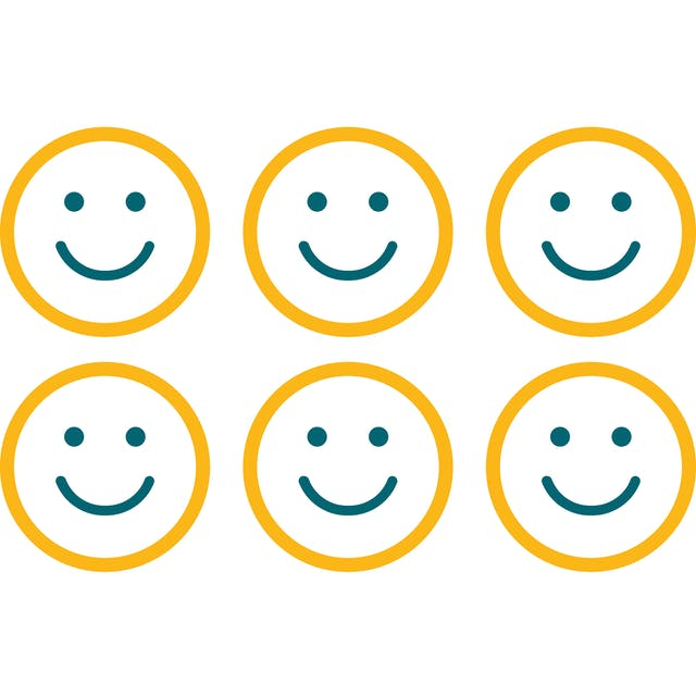 Six icons of smiling faces