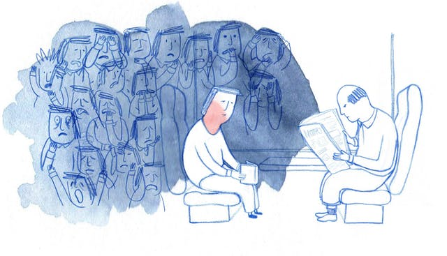 Hand-drawn illustration depicting a man suffering from anxiety whilst sitting on a train opposite a stranger reading a newspaper. His face is red with embarrassment as he tries to focus on reading a book. A group of people looking worried, stressed and under pressure are depicted in his thoughts.