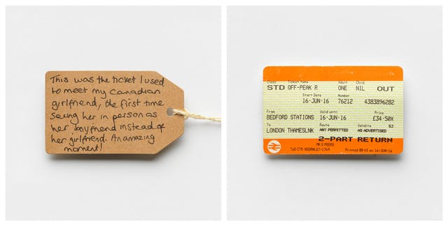 Photographic diptych showing a handwritten brown card label on the left and a UK train ticket on the right.