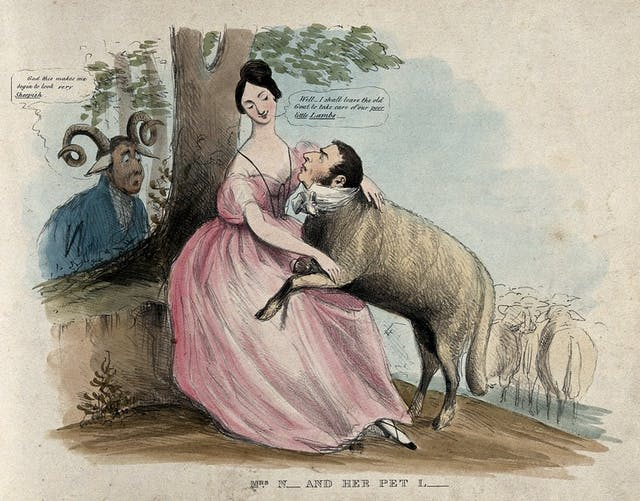 Image of a satirical coloured lithograph featuring a women embracing a man with the body of a sheep with a sad-looking man with ram
