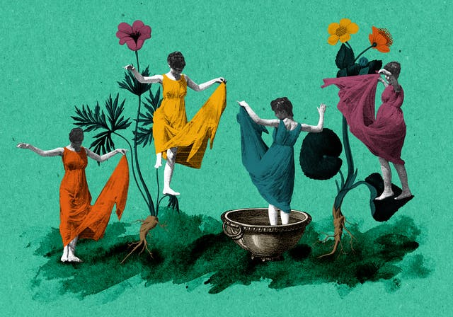 Mixed media collage of four women dancing whilst holding their long dresses away from their feet.  Two of the figures are dancing on a large flowers, whilst a third central figure is standing inside a large bowl.  The image has been created from colourised black and white assets using orange, blue, yellow and purple, and sits on a green background.