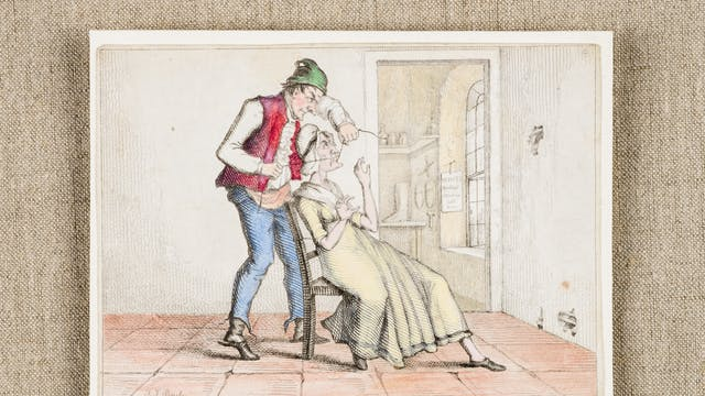 Colour illustration showing a man standing over a seated woman, sewing up her mouth