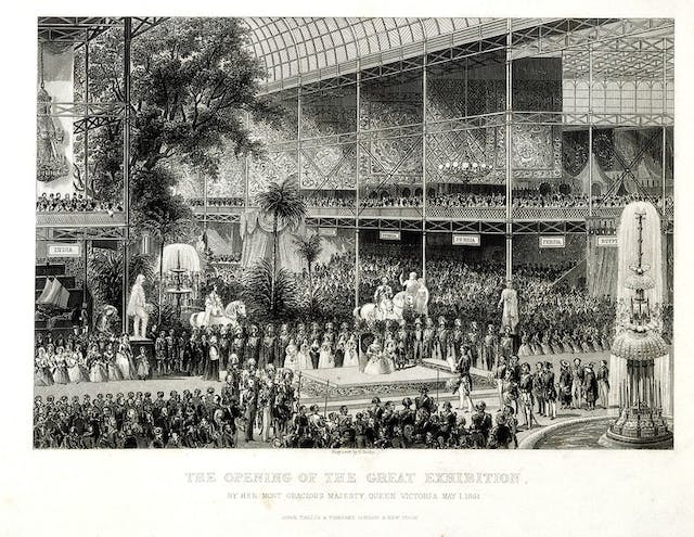 Engraving depicting the inside of crystal palace in Hyde Park with large crowds