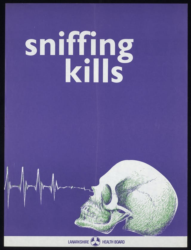 Bright purple poster with an illustration of a skull and the slogan, Sniffing Kills.