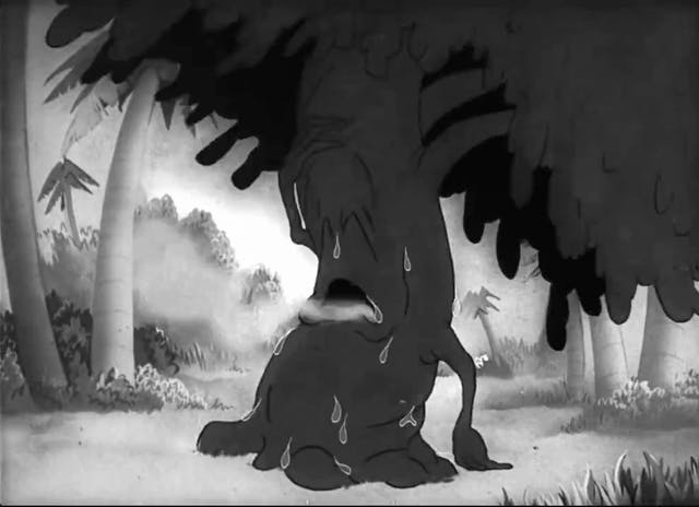 Black and white still image from the film