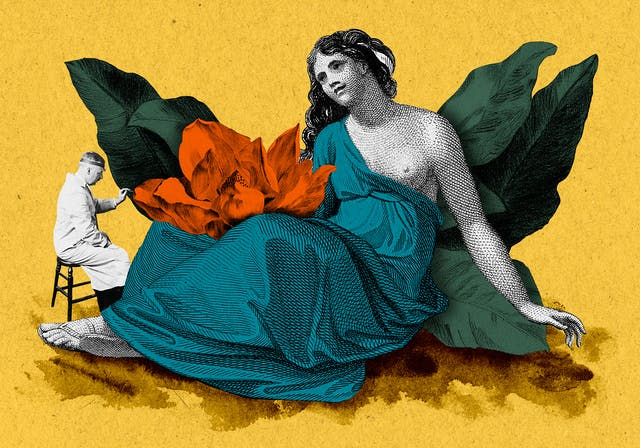Mixed media collage of a Greco-Roman figure of a woman being examined by a doctor.  The woman is sitting, partly cloaked, and showing part of her torso as she leans backwards.  On her lap is a large flower. The image has been created from colourised black and white assets using orange, blue and green tones, and sits on a yellow background where the floor has been painted with watercolour.
