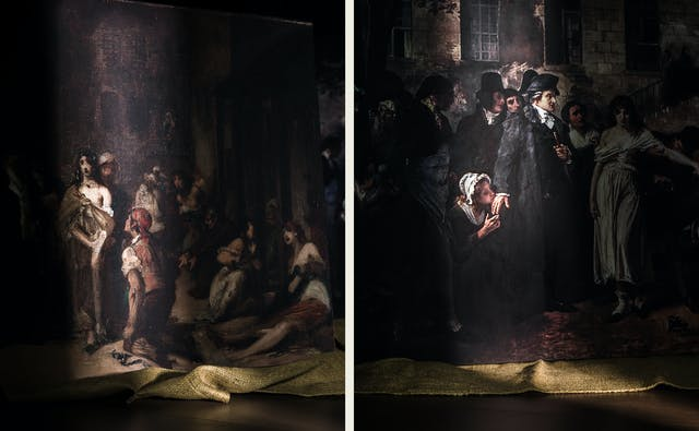 Photographic diptych showing two oils paintings. The image on the left shows a section of an oil painting resting on a hessian sheet. A shaft of light reveals a section of the painting showing a woman standing with her clothes falling off one shoulder, a man kneeling in front of her. The image on the right shows a section of an oil painting resting on a hessian sheet. A shaft of light reveals a section of the painting showing a woman kneeling and kissing the hand of a standing man.