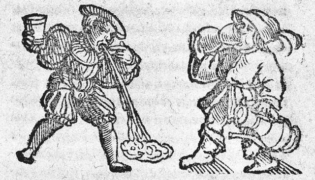 Woodcut image of two men, one vomiting whilst holding his cup and one still drinking.