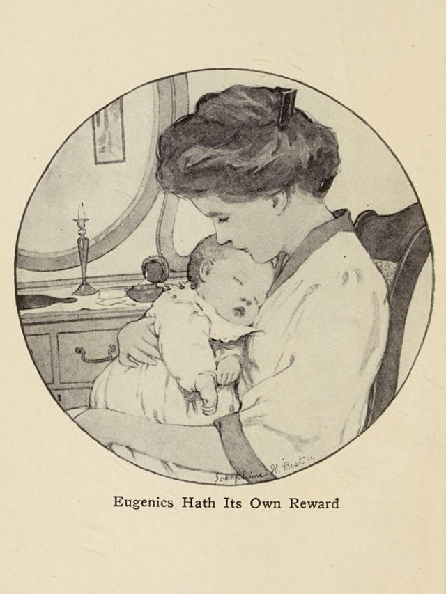 Black and white image of a woman holding a young sleeping baby.