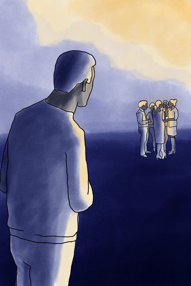 Illustration of a person standing in the foreground who appears reluctant to join a group of five other people in the distance.