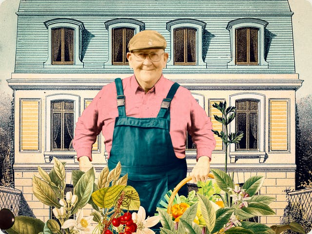 Detail from a larger mixed media digital artwork combining found imagery from vintage magazines and books with painted and textured elements. The overall hues are light blues, pinks, creams, greens and yellows. At the centre of the artwork is a photograph of an older man wearing glasses in a flat cap, smiling towards the viewer. He is wearing a pair of blue dungarees and a pink long sleeve collared shirt. Below and in front of his legs is a great collage of fruit and vegetables, flowers and leaves. Behind him in the background is a drawing of a three-storey home. The top floor is in the tiled roof which is tinted blue.
