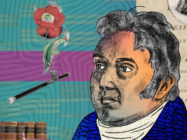 A detail from a larger abstract digital illustration featuring two head and shoulders portraits of two males posed back to back, depicting the writer philosopher Samuel Taylor Coleridge on the left and chemist Humphry Davy on the right. On the left side by Coleridge there is a romantic image of a red poppy flower as well as an opium pipe. To the right side by Davy there is an archive image of someone inhaling pain relief gas as part of a medical procedure.