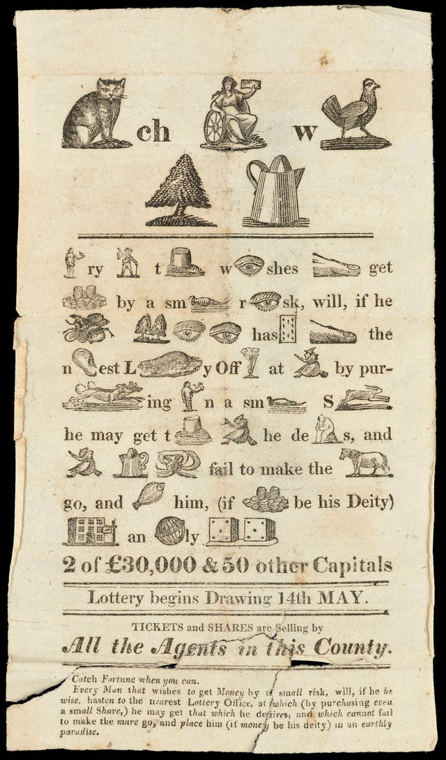 Printed pamphlet with pictograms encouraging people to play the lottery.