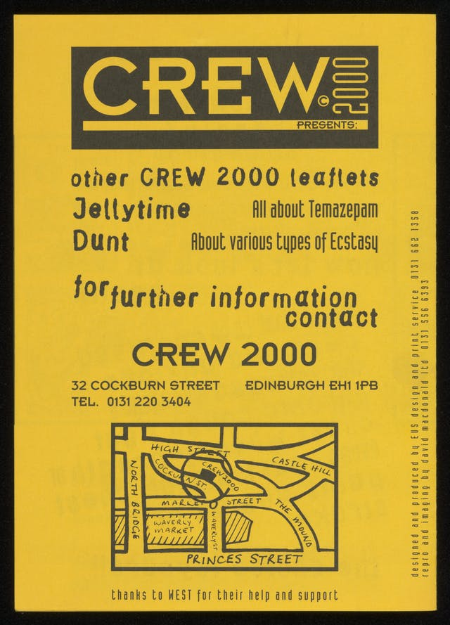 Crew 2000 poster promoting other publications about drugs; black text and map on bright yellow paper.