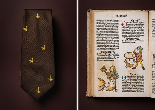A photographic diptych. The image on the left shows a brown tie neatly folded.  There are small golden guide dogs and guide dog handlers seen from the side, appearing in a repeated pattern. The image on the right shows the left hand page of what appears to be a medieval book featuring Latin text and illustrations. On the bottom left of the page, there is a figure of a man holding a sword in one hand and a crown held out before him in the other. The figure of a man on the other side of the page shows him holding a small dog on a lead. He is stood by a table and holding something to his eye. Both illustrations are coloured with yellow, green and brown only. The figures are dressed in tights and tunics. The items appear on a plain brown background.
