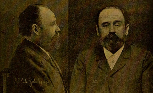 Two black and white photos of Emile Zola; one face on to camera, the other in profile.