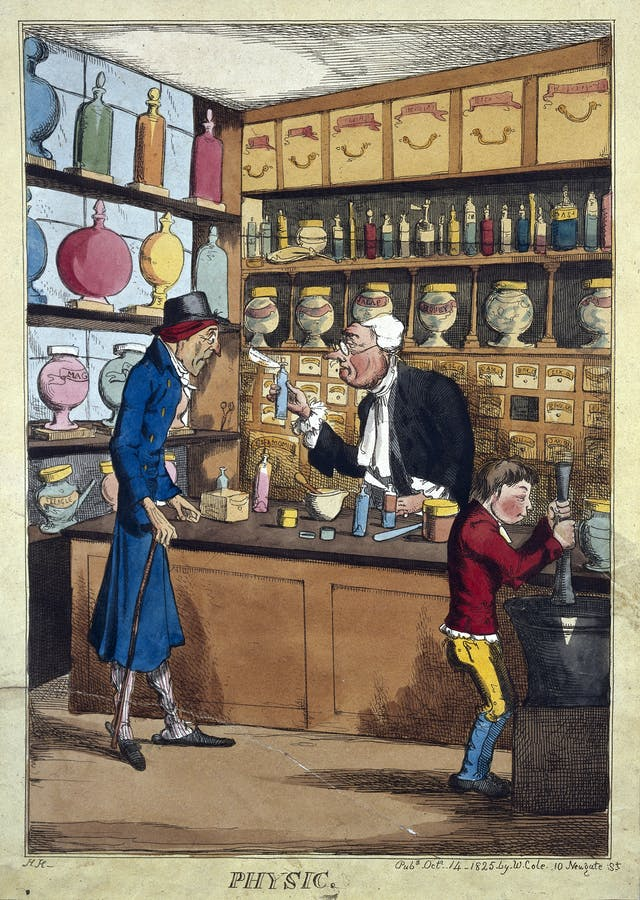 Caricature of a pharmacy, 1825