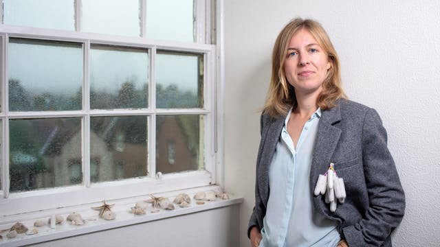 Photograph of a woman next to a window which is covered over the outside in rain drops. On the window sill are an assortment of seashells. The woman is looking straight to camera, wearing a grey jacket.  Hanging from her jacket pocket are about 10 tampons.