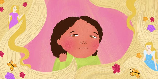 Digital colour illustration. The illustration shows a young girl in the centre of the image, of a Mixed ethnic background. She is wearing a lime green top and the expression on her face is one of sadness and concern. She is touching her black hair with her right hand. Behind her is a textured pink background. Swirling around her and the edge of the image are lengths of long blond hair. Nestled within the strands of hair are two female princess type figures, both of White ethnic background. Also within the hair are red, purple and orange flowers and orange coloured butterflies.