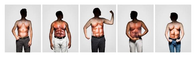 Photograph of five photographs in a horizontal line, each one shows a man from the thigh up wearing a vest which has a very muscly male torso printed on it. Each man is pulling a stance to show off his muscles. Each man
