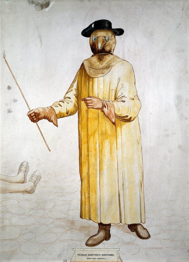 A physician wearing a seventeenth century plague preventive costume