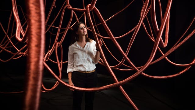 Photograph of a young woman exploring the exhibition, Alice Anderson: Memory Movement Memory Objects. She is standing in a dark gallery space surrounded by think hanging copper ropes.