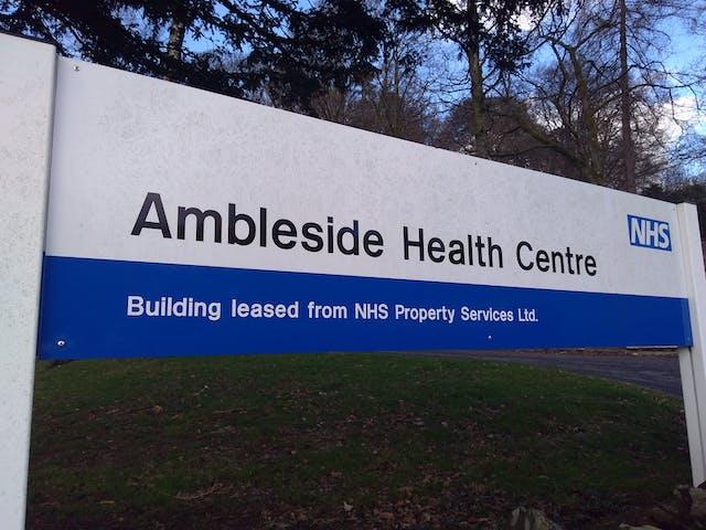 Colour photograph of a sign for Ambleside Health Centre