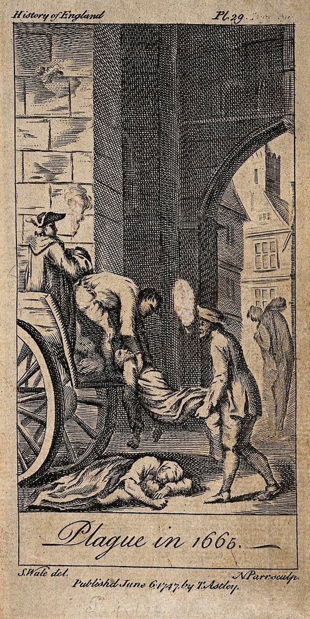 Victims of the plague in 1665 being lifted on to death carts