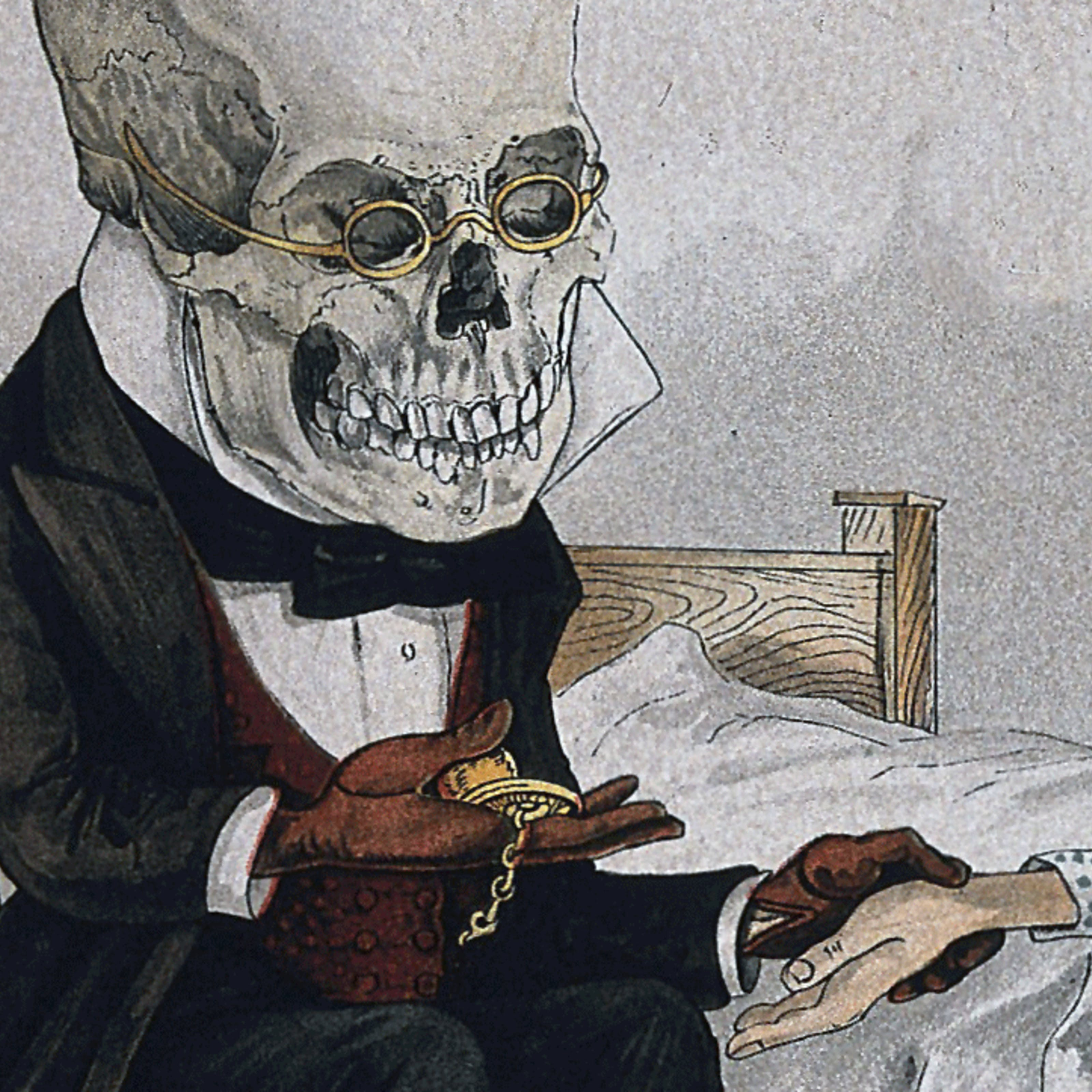Colour drawing of a person with a bare skull for a head wearing glasses and a frock-coat and using a pocketwatch to take the pulse of the patient whose hand they are holding.