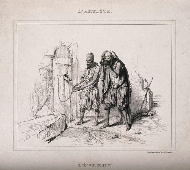Black and white etching of two lepers receiving food through a wall.