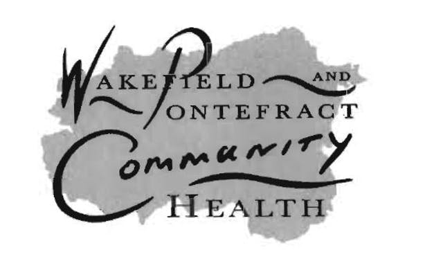 """Black and white logo on a grey background that could be the shape of a map area. The text script is a mixture of swirly and straight and reads """"Wakefield and Pontefract Community Health"""""""