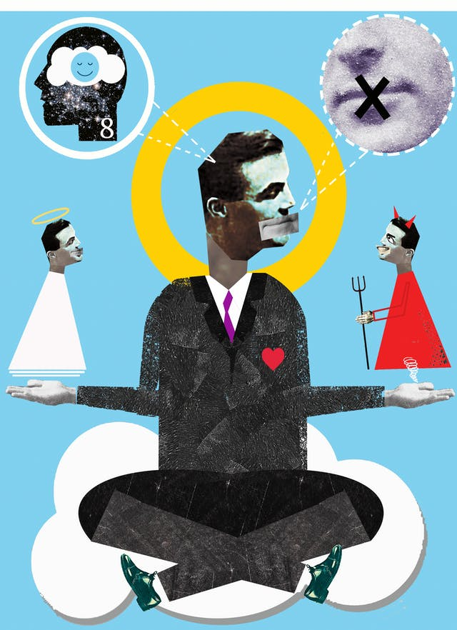 Illustration using a montage technique combining monotone photographs and colour graphics, showing a man sat cross-legged on a cloud, hands held out to either side. One his right hand hovers a small angelic version of himself. On his left hand hovers a small demonic version of himself. Above his head in thought circles are, on the right, a mouth with a black cross over the lips and on the left, a head with a tranquil blue smilie face with its eye