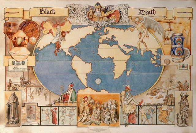Watercolour map showing the history and distribution of the black death around the world