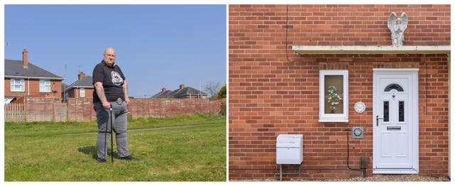 A photographic diptych. The image on the left shows a man with a shaved head, grey jeans, a black t-shirt, tattooed arms and large gold headphones around his neck. The man leans on a black walking cane and faces the camera on an area of rough grass beyond which garden fences and red brick houses can be seen. The image on the right shows a red brick house with a white PVC window and door above which there is a concrete canopy, on which stands an ornamental stone angel praying
